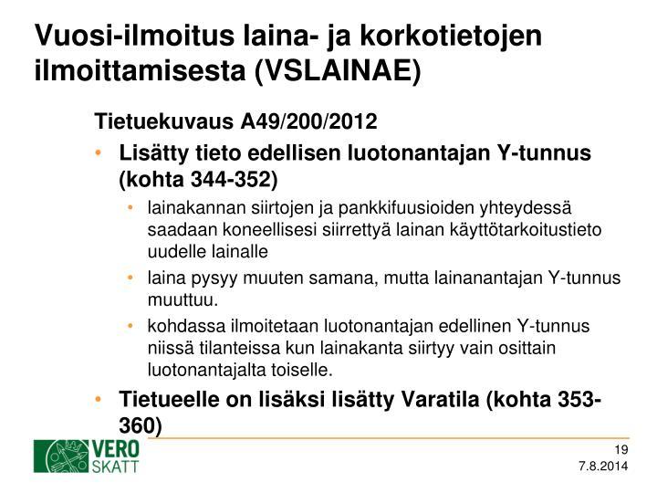 Vuosi-ilmoitus laina- ja korkotietojen ilmoittamisesta (VSLAINAE)