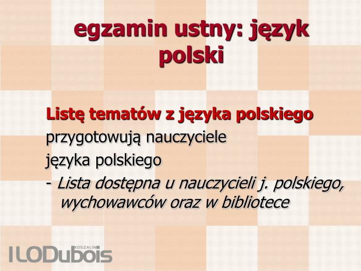 egzamin ustny: język polski