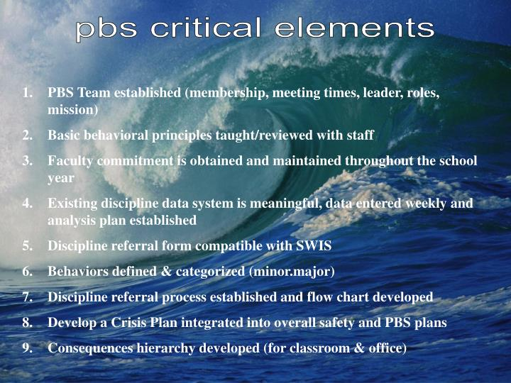 pbs critical elements