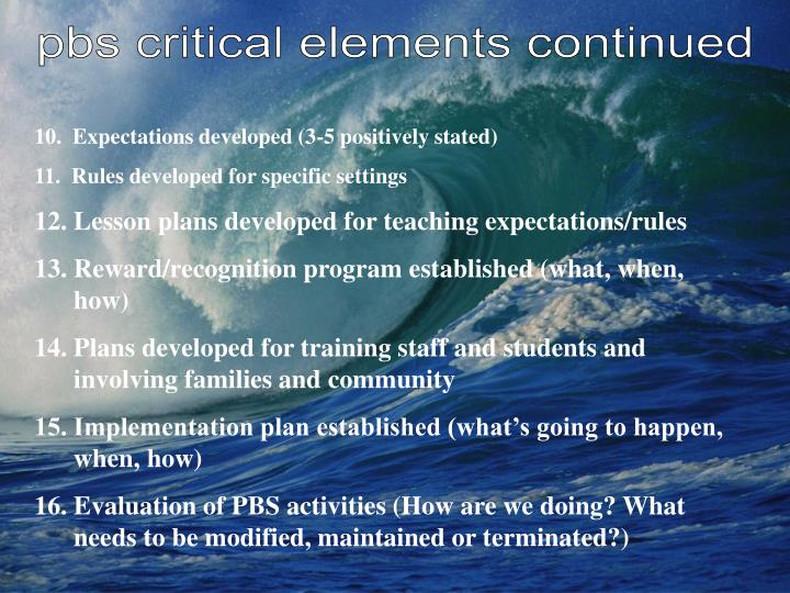 pbs critical elements continued
