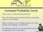 increased profitability contd
