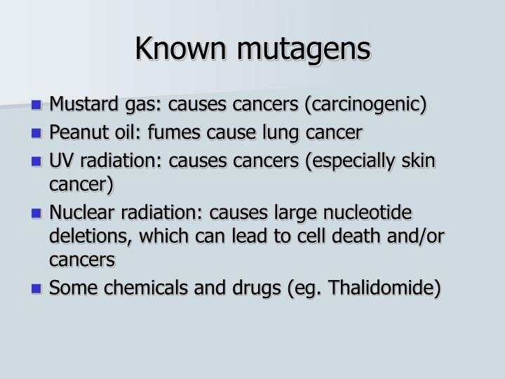 Known mutagens