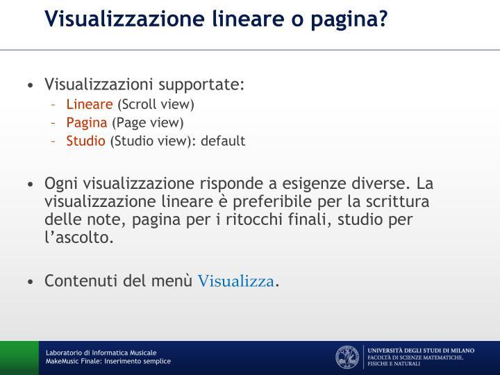 Visualizzazione lineare o pagina?