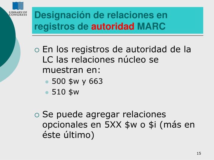 Designación de relaciones en registros de