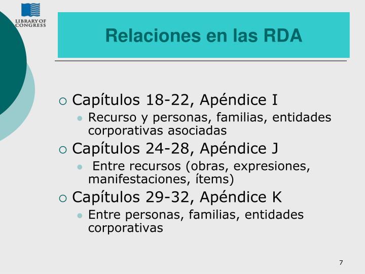 Relaciones en las RDA