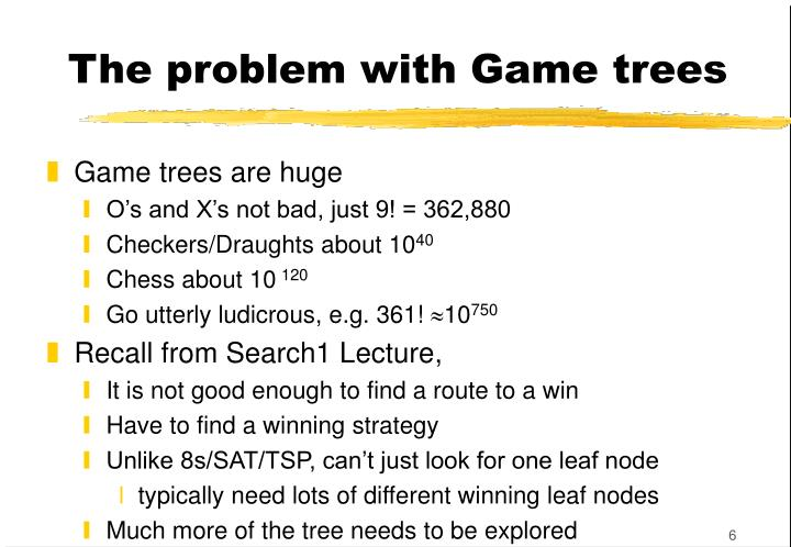 The problem with Game trees