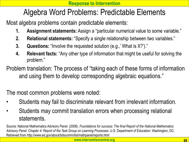 Algebra Word Problems: Predictable Elements
