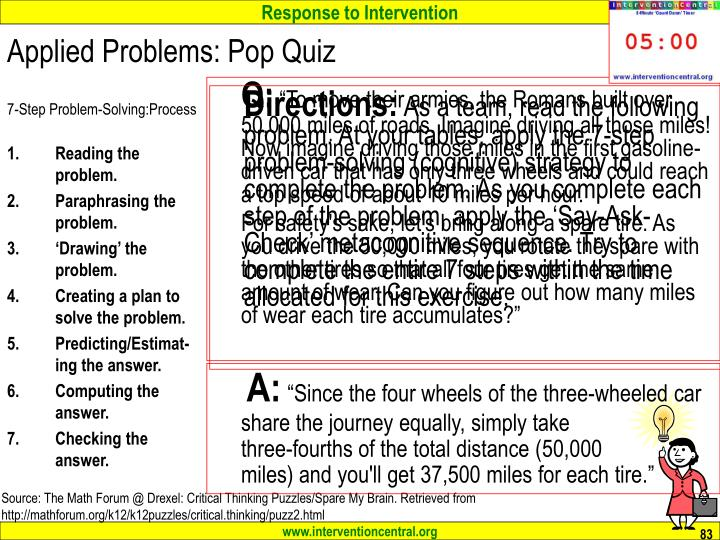 Applied Problems: Pop Quiz