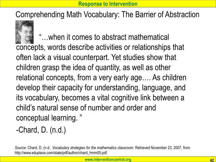 Comprehending Math Vocabulary: The Barrier of Abstraction