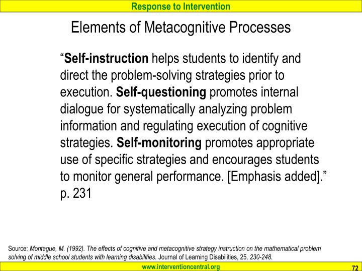 Elements of Metacognitive Processes