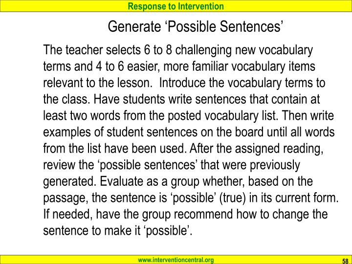 Generate 'Possible Sentences'