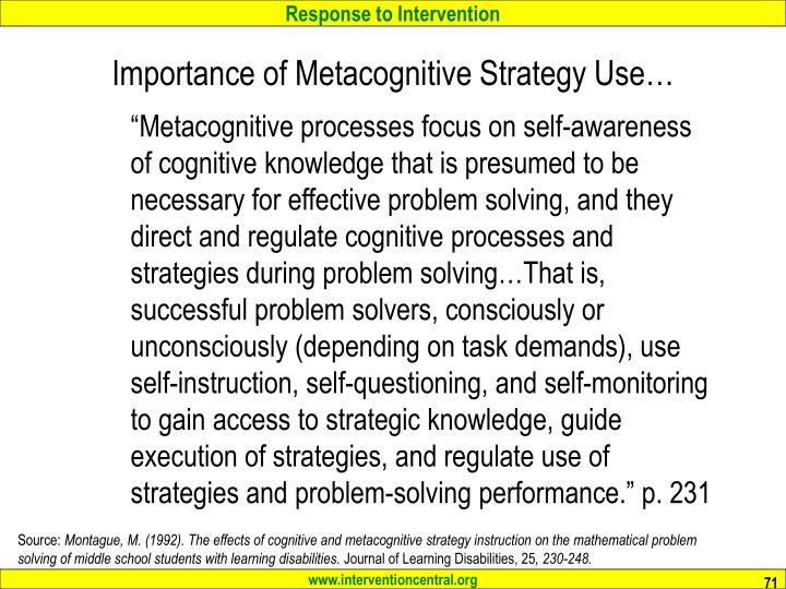 Importance of Metacognitive Strategy Use…