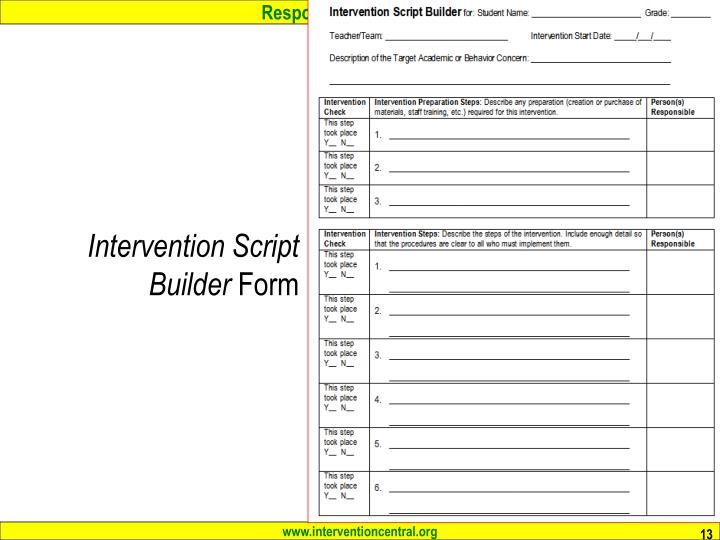 Intervention Script Builder