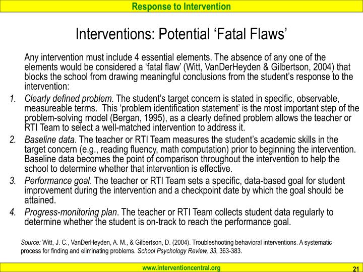 Interventions: Potential 'Fatal Flaws'