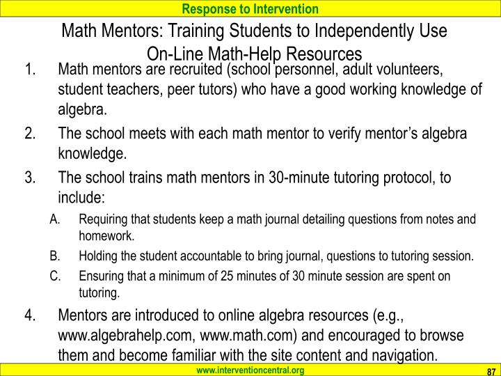 Math Mentors: Training Students to Independently Use On-Line Math-Help Resources