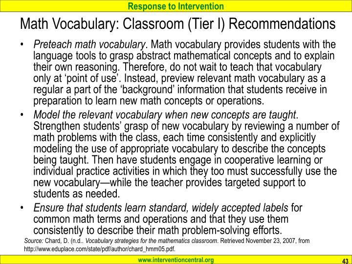 Math Vocabulary: Classroom (Tier I) Recommendations