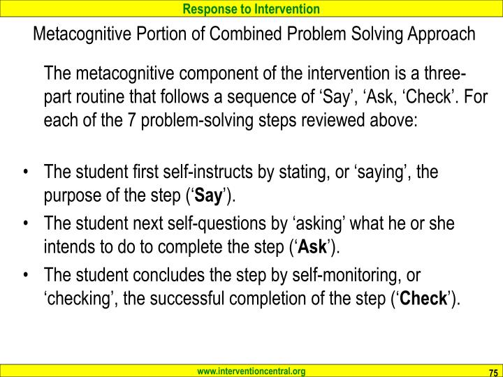 Metacognitive Portion of Combined Problem Solving Approach