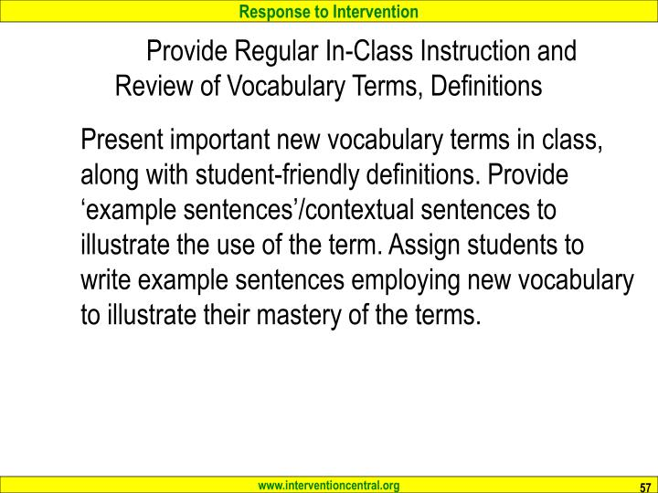 Provide Regular In-Class Instruction and Review of Vocabulary Terms, Definitions