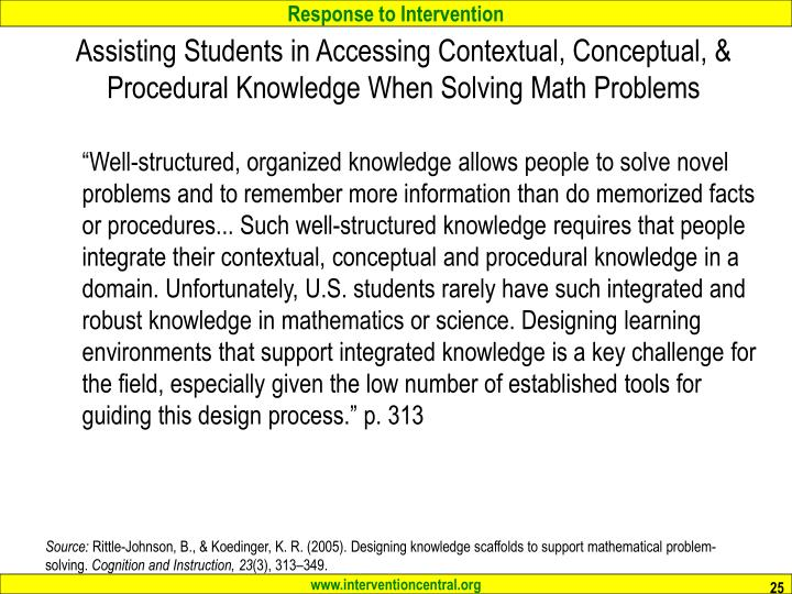 Assisting Students in Accessing Contextual, Conceptual, & Procedural Knowledge When Solving Math Problems