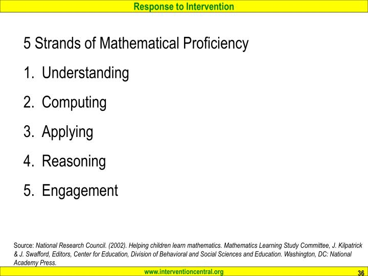 5 Strands of Mathematical Proficiency