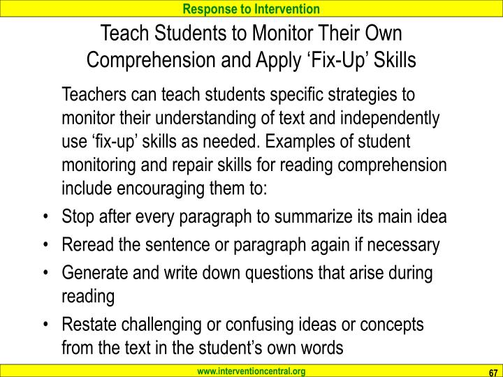 Teach Students to Monitor Their Own Comprehension and Apply 'Fix-Up' Skills