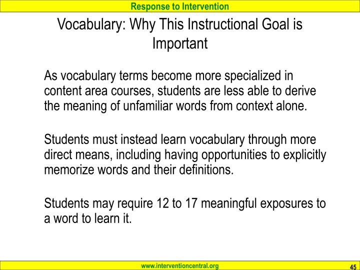 Vocabulary: Why This Instructional Goal is Important