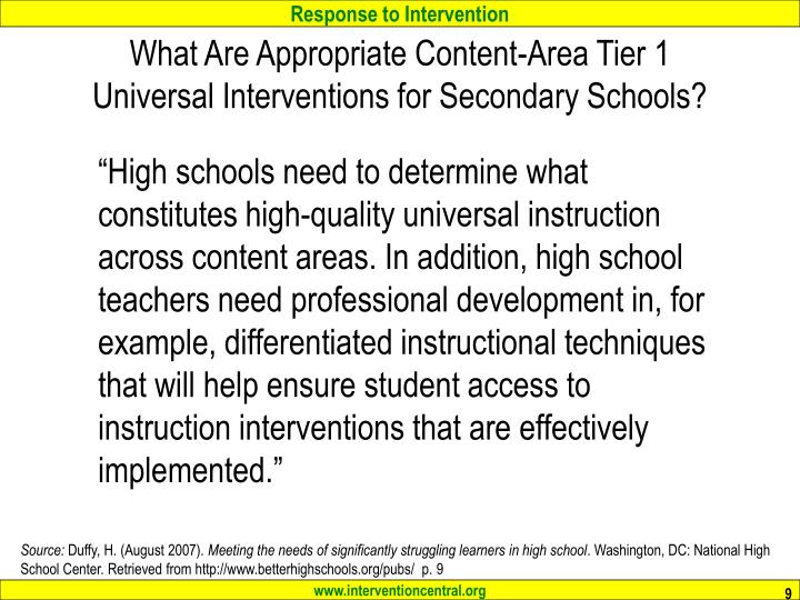What Are Appropriate Content-Area Tier 1 Universal Interventions for Secondary Schools?