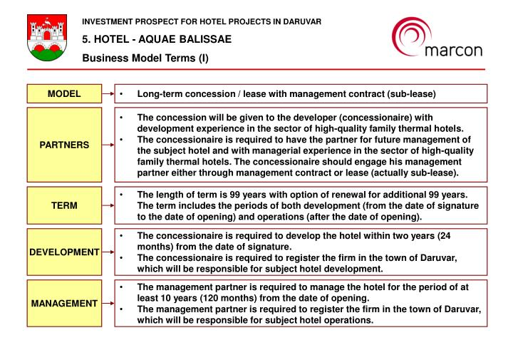 INVESTMENT PROSPECT FOR HOTEL PROJECTS IN DARUVAR