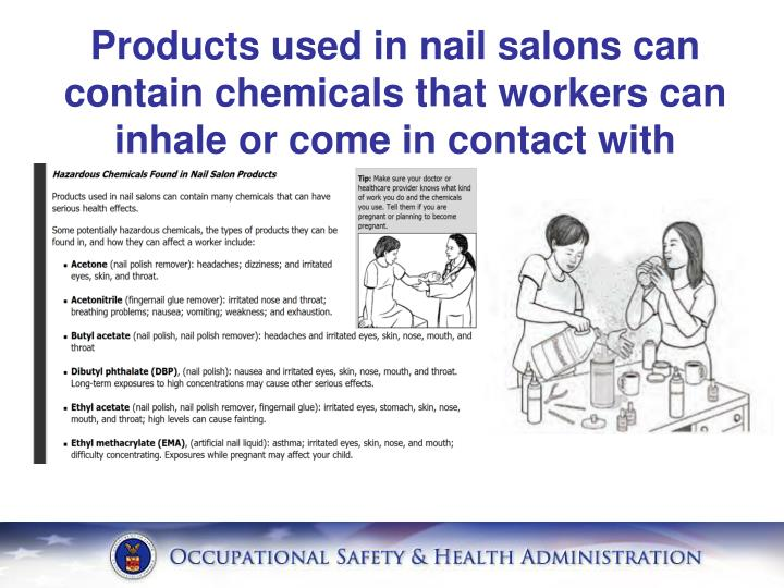 Products used in nail salons can contain chemicals that workers can inhale or come in contact with