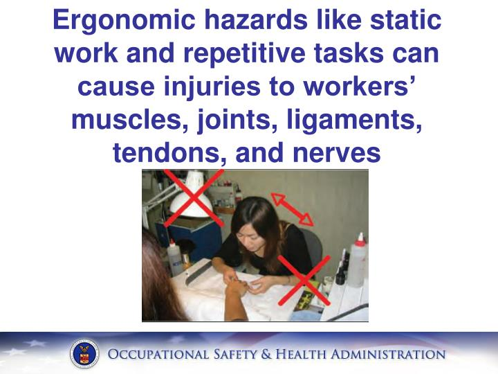 Ergonomic hazards like static work and repetitive tasks can cause injuries to workers' muscles, joints, ligaments, tendons, and nerves