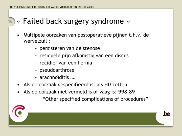 « Failed back surgery syndrome »
