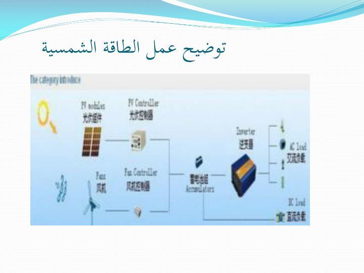 توضيح عمل الطاقة الشمسية