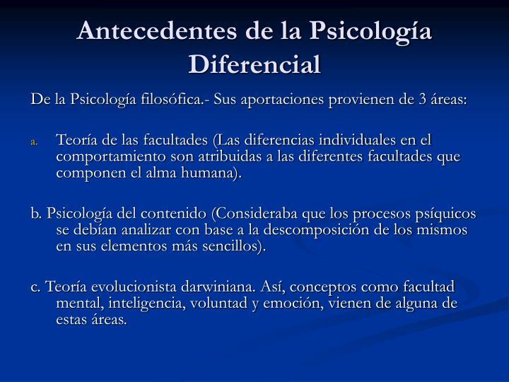 Antecedentes de la Psicología Diferencial