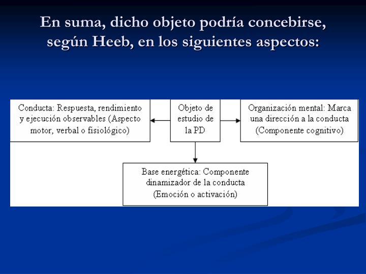 En suma, dicho objeto podría concebirse, según Heeb, en los siguientes aspectos: