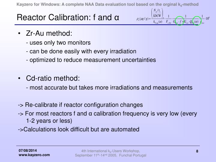 Reactor Calibration: f and