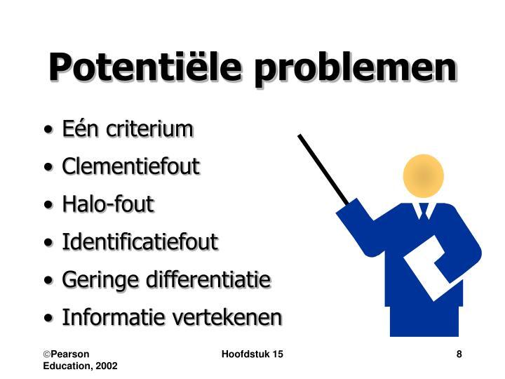 Potentiële problemen