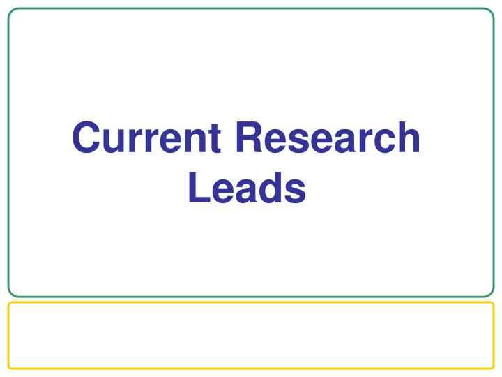 Current Research Leads