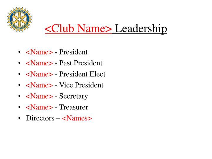 <Club Name>