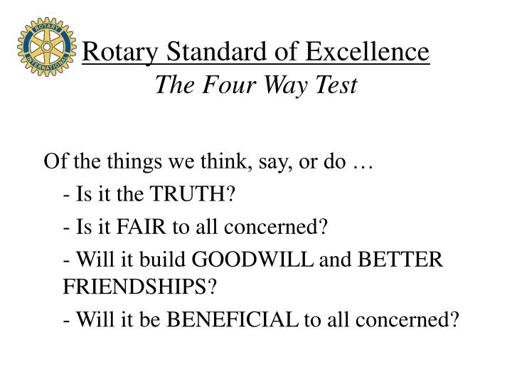 Rotary Standard of Excellence