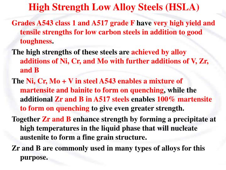 High Strength Low Alloy Steels (HSLA)