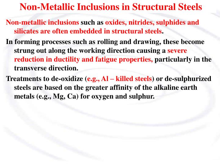 Non-Metallic Inclusions in Structural Steels