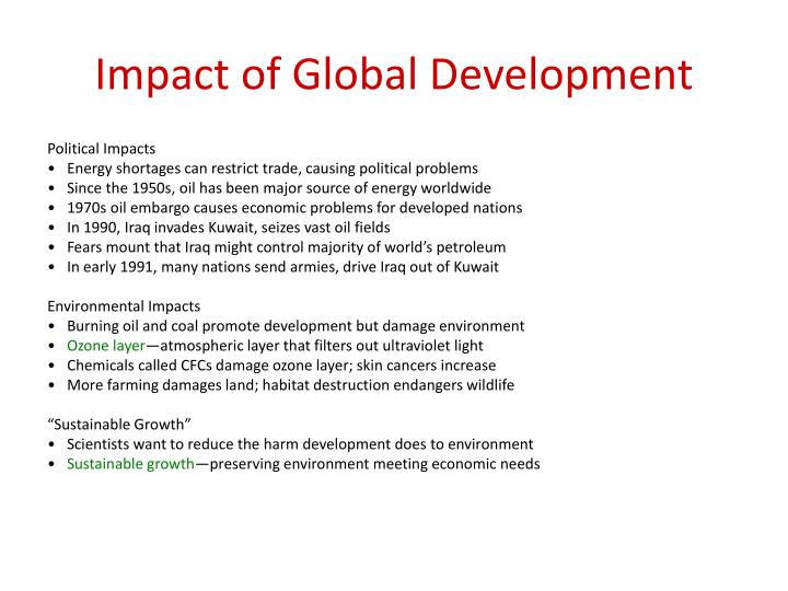 Impact of Global Development