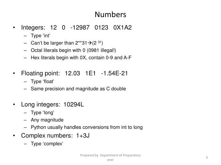 Integers:   12   0   -12987   0123   0X1A2
