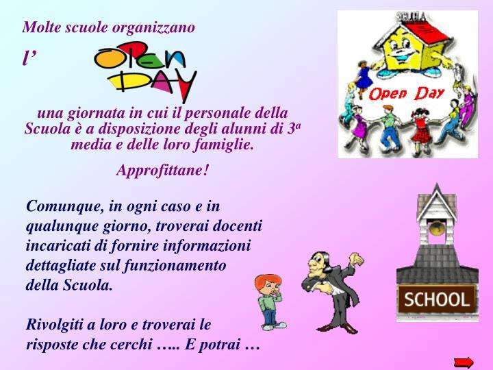 Molte scuole organizzano