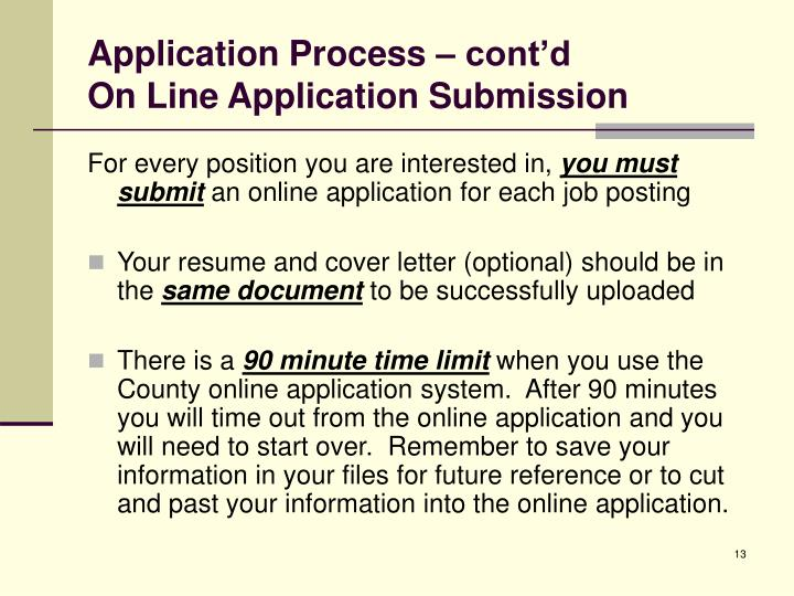 Application Process – cont'd