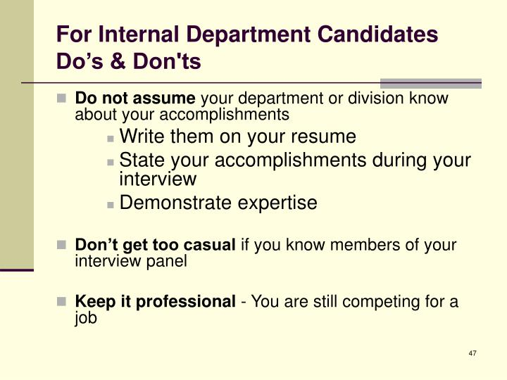 For Internal Department Candidates Do's & Don'ts