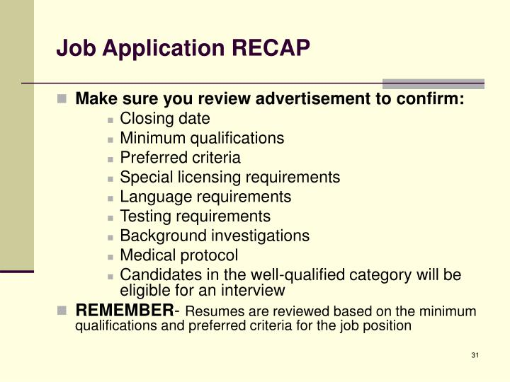 Job Application RECAP
