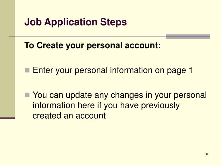Job Application Steps