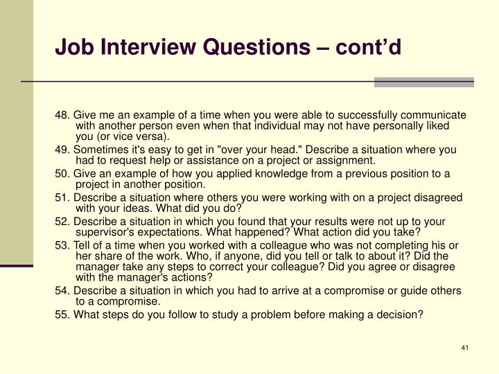 Job Interview Questions – cont'd
