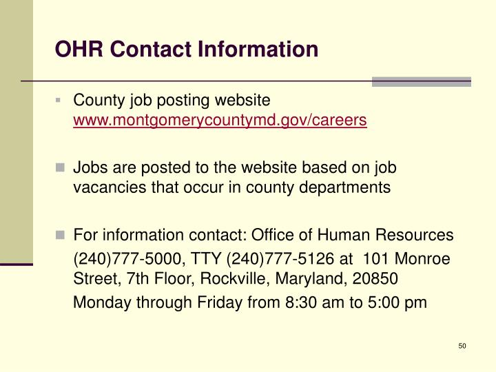 OHR Contact Information
